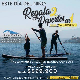 Este Día del niño ! Regala deporte ! Que mejor q dos deportes en 1 Sup + windsurf (windsup ) sale a remar y sale a navegar 😉 Y como si fuera poco el precio te regalamos una noche en el increíble @hotelpuclaro